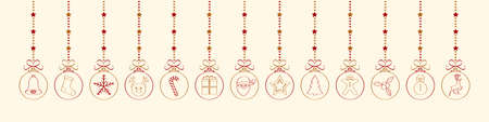 Christmas wishes with hanging ornaments. Vector Vettoriali