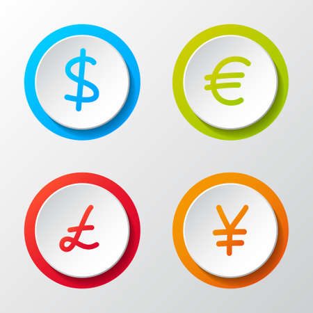Collection of currency hand drawn symbols - 3d buttons. Vector. 向量圖像