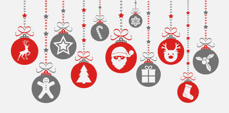 Christmas ornaments with icons. Vector. Illustration