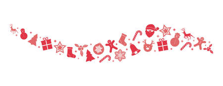 Panoramic banner with Christmas ornaments in retro style. Vector.