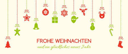Frohe Weihnachten - Merry Christmas in German. Christmas card with ornaments. Vector. Illustration