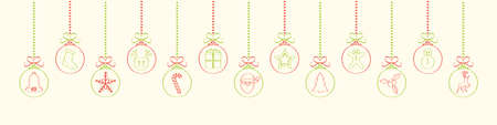 Christmas wishes with hanging ornaments. Vector Illustration