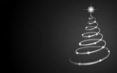 Shiny Christmas tree on dark background with copyspace. Vector.