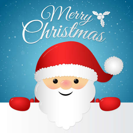 Merry Christmas - card with wishes and Santa Claus. Vector.