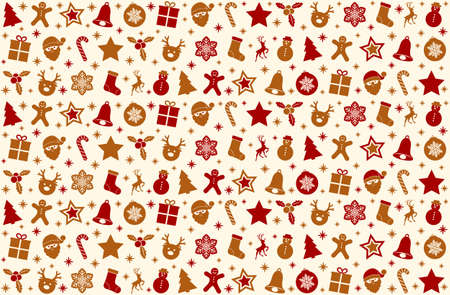 Christmas background with ornaments. Vector.
