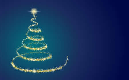 Beautiful golden Christmas tree on blue background with copyspace. Vector.