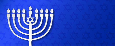 Hanukkah - concept of banner with copyspace. Vector. Illustration