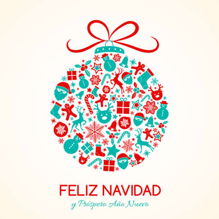 Feliz Navidad - Merry Christmas in Spanish. Christmas card with ornaments. Vector.