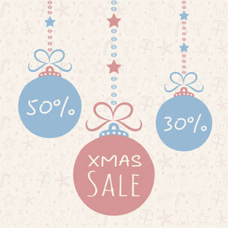 Cute poster with Christmas ornaments for Xmas Sale. Vector.