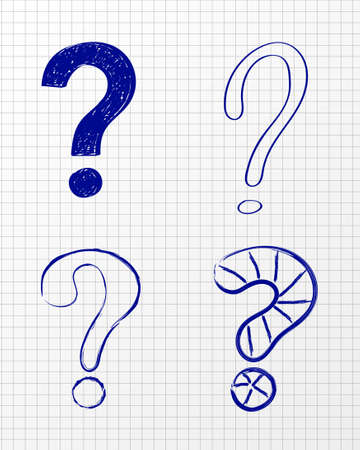 Question Mark - hand drawn symbol. Vector Illustration