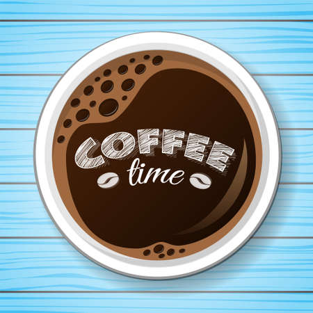Coffee on wooden table - top view. Vector. Illustration