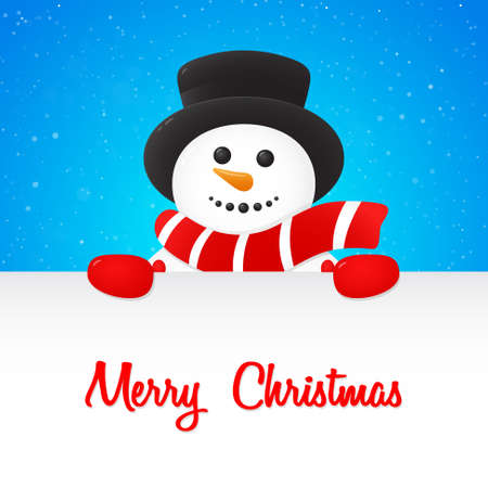 Christmas poster with merry Snowman holding a card with wishes on background with shiny snowflakes. Vector.