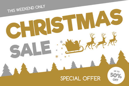 Christmas Sale banner in retro style. Vector.