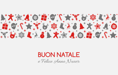 Buon Natale - Merry Christmas in Italian. Christmas card with ornaments. Vector. Illustration