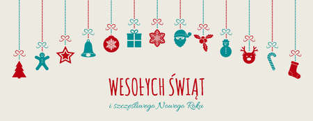 Wesolych Swiat - Merry Christmas in Polish. Christmas card with ornaments. Vector.