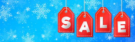 Winter or Christmas Sale background with copyspace - banner. Vector. Illustration