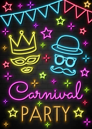 Carnival Party - colorful neon invitation card. Vector Illustration
