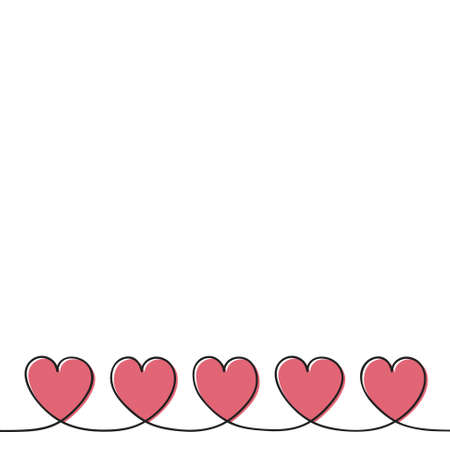 Beautiful background with cute hand drawn hearts and copyspace. Vector