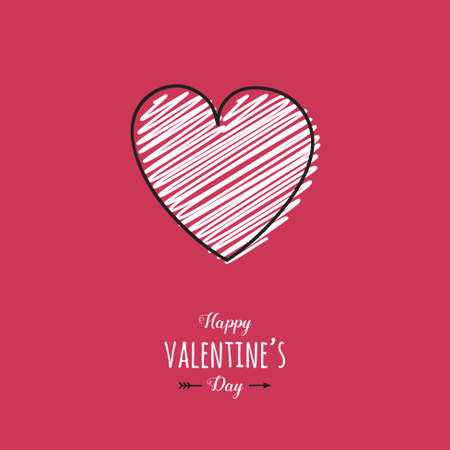 Valentine's Day typography with cute hand drawn heart. Vector