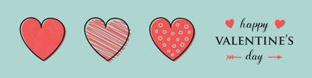 Valentine's Day illustration in retro style with hand drawn hearts. Vector