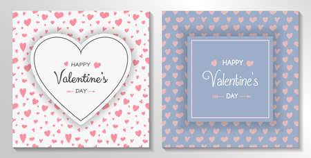 Happy Valentine's Day - set of cute greeting card with hand drawn hearts. Vector Illustration