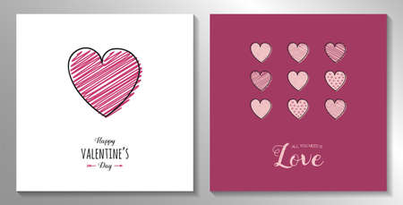 Happy Valentine's Day - collection of cards with cute hand drawn hearts. Vector