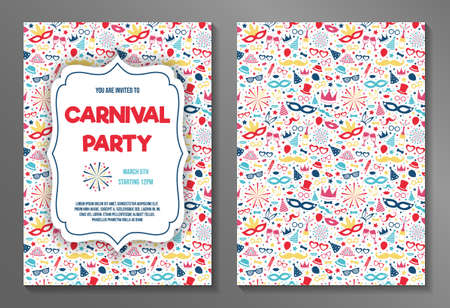 Set with Carnival Party invitations. Vector