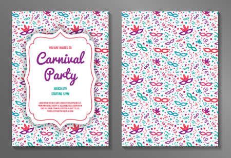 Colorful two-sided Carnival Party invitation. Vector