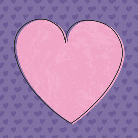 Cute card with hand drawn hearts and copyspace. Vector