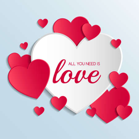 Valentine's Day poster with cute paper hearts. Love concept. Vector