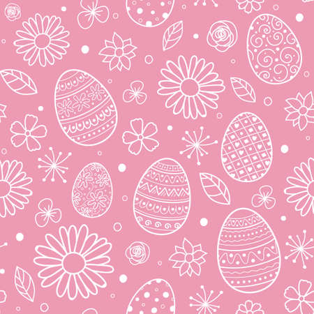 Seamless pattern with decorative eggs and flowers. Easter background. Vector