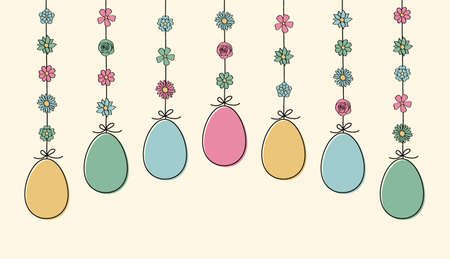 Colorful hanging Easter eggs. Vector