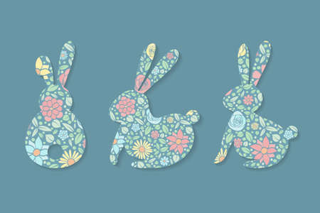 Easter decorations. Set of colorful bunnies. Vector