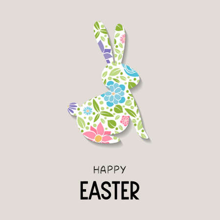 Easter bunny with colorful flowers. Vector