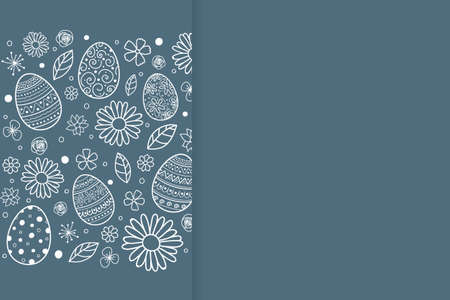 Easter eggs and flowers on background with copyspace. Vector