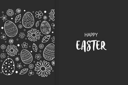 Easter greeting card with decorative eggs over flowers. Vector Ilustração