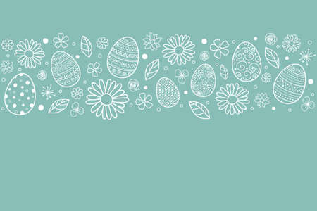 Template of Easter greeting card with eggs and flowers. Vector