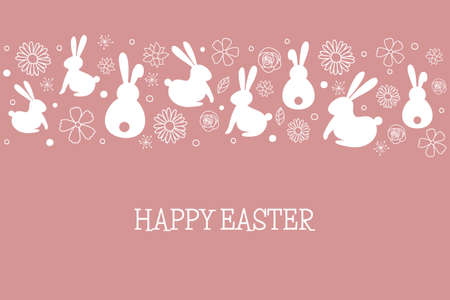 Easter greeting card with bunnies and flowers. Vector