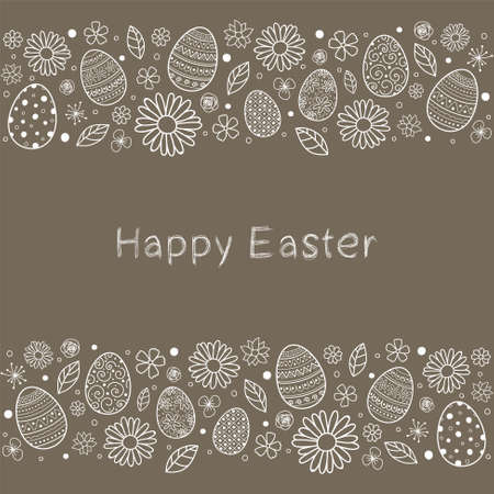 Easter eggs and flowers. Greeting card. Vector