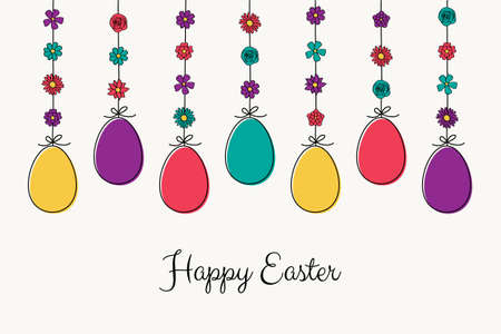 Colorful Easter eggs. Concept of greeting card. Vector Vectores