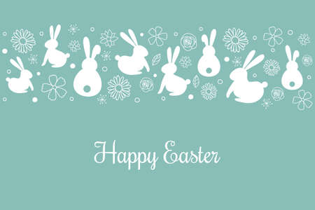 Easter greeting card with hand drawn bunnies and flowers. Vector Ilustração