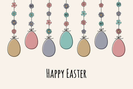 Hanging Easter eggs. Colorful greeting card. Vector Vectores