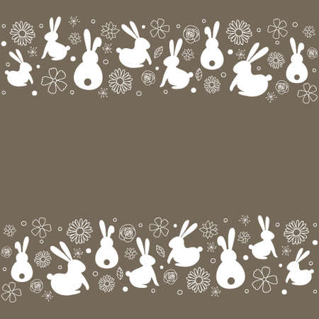 Easter background with cute with bunnies flowers. Vector