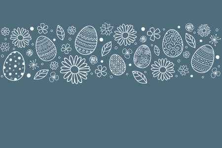 Concept of Easter background with hand drawn eggs and flowers. Vector