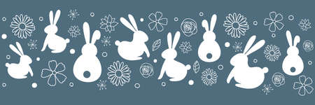 Simple Easter banner with hand drawn bunnies and flowers. Vector