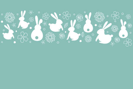 Template of Easter greeting card with bunnies and flowers. Vector Ilustração