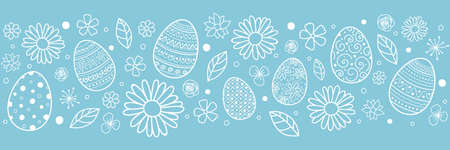 Easter banner with decorative eggs and flowers. Vector Ilustração