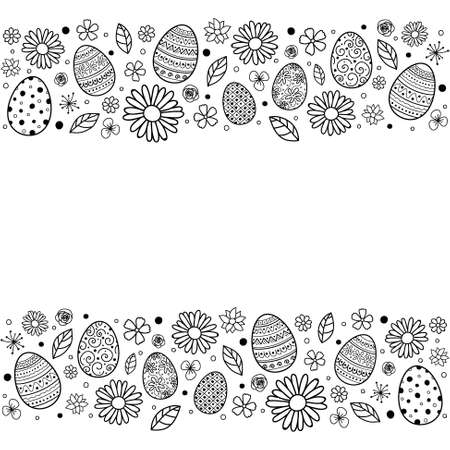 Simple Easter background with hand drawn eggs and flowers. Vector Ilustração