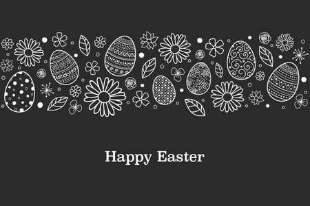Happy Easter. Card with eggs and flowers. Vector Ilustração