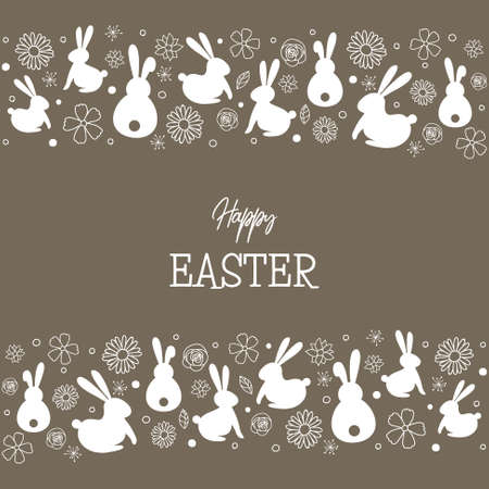 Easter bunnies and flowers. Greeting card. Vector